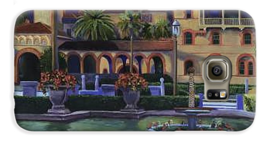St. Augustine\'s Flagler College Campus Galaxy S6 Case featuring the painting Flagler College II by Christine Cousart