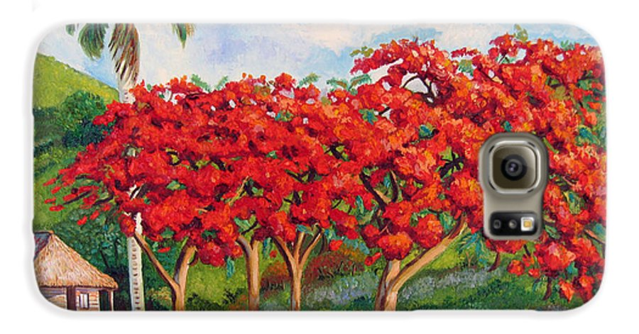 Cuban Art Galaxy S6 Case featuring the painting Flamboyans by Jose Manuel Abraham