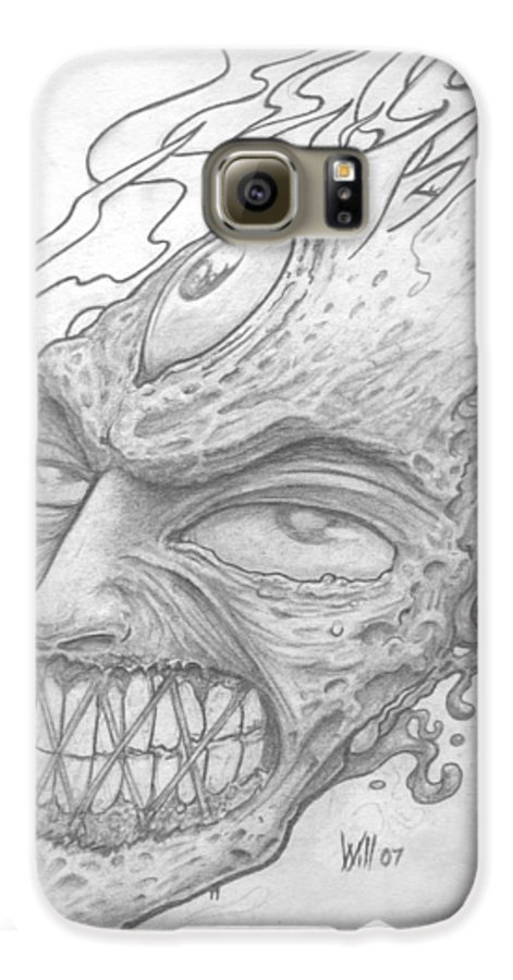 Zombie Galaxy S6 Case featuring the drawing Flamehead by Will Le Beouf