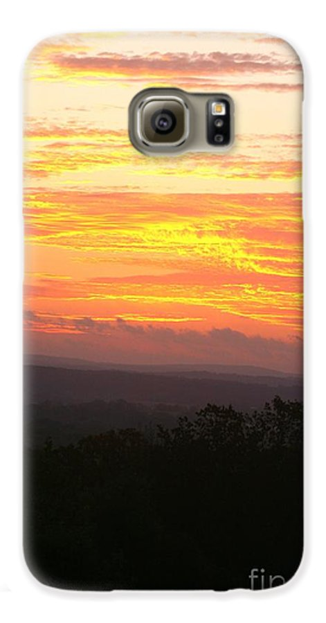 Sunrise Galaxy S6 Case featuring the photograph Flaming Autumn Sunrise by Nadine Rippelmeyer