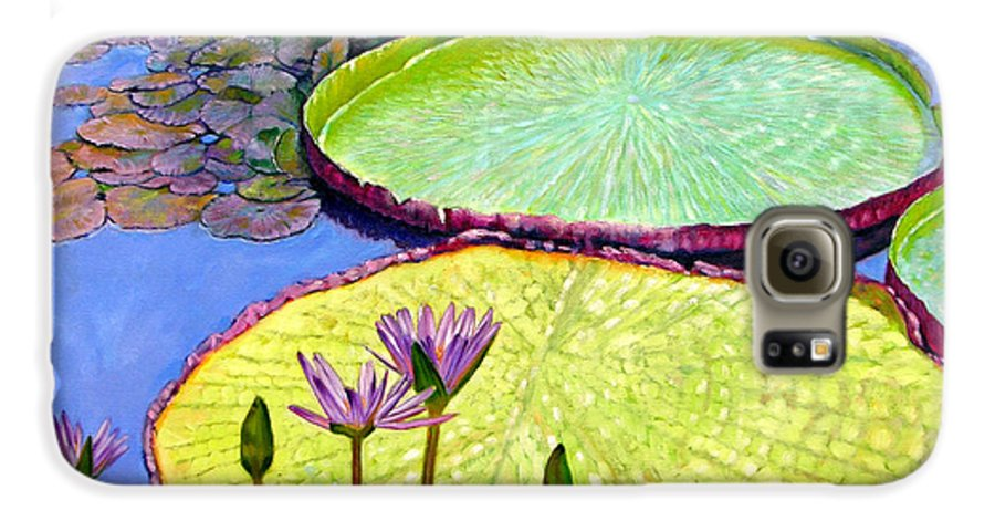 Garden Pond Galaxy S6 Case featuring the painting Floating Galaxies by John Lautermilch