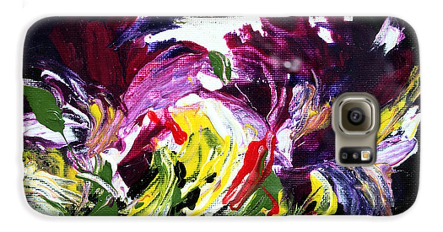 Abstract Galaxy S6 Case featuring the painting Floral Flow by Mario Zampedroni
