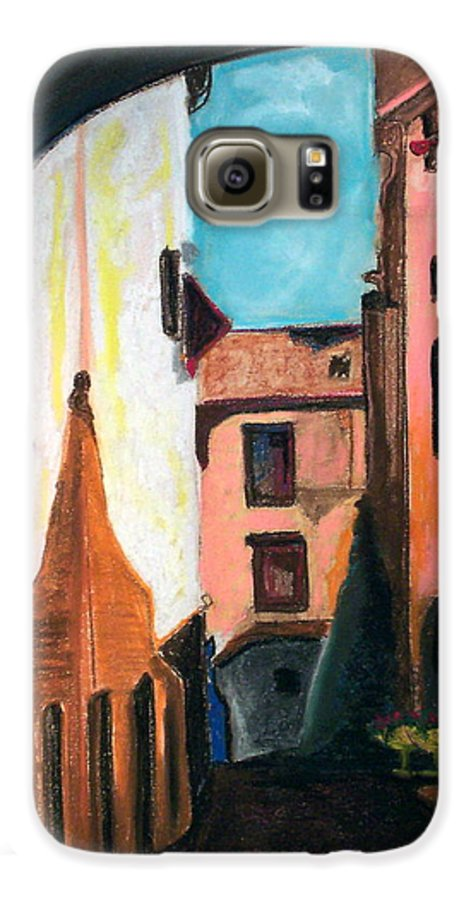 Pastel Galaxy S6 Case featuring the drawing Florence Cove by Patricia Arroyo