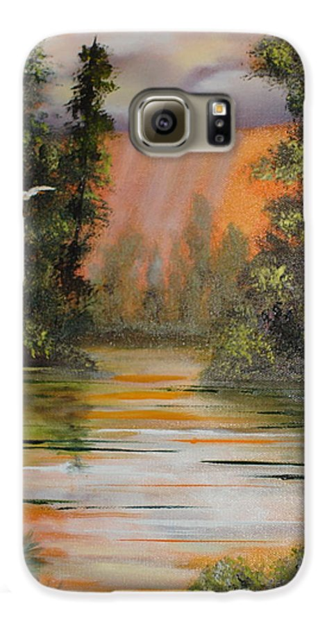 Landscape Galaxy S6 Case featuring the painting Florida Thunderstorm by Susan Kubes