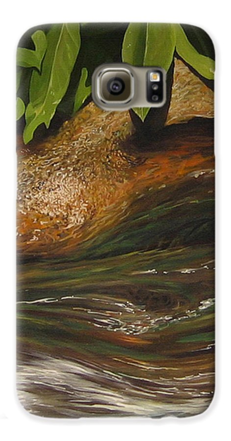 Colorado Mountain Stream Galaxy S6 Case featuring the painting Flow by Hunter Jay