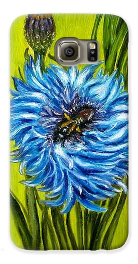 Flower Galaxy S6 Case featuring the painting Flower And Bee Oil Painting by Natalja Picugina