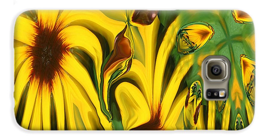 Abstract Galaxy S6 Case featuring the photograph Flower Fun by Linda Sannuti