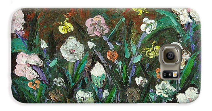 Abstract Paintings Galaxy S6 Case featuring the painting Flower Garden by Seon-Jeong Kim
