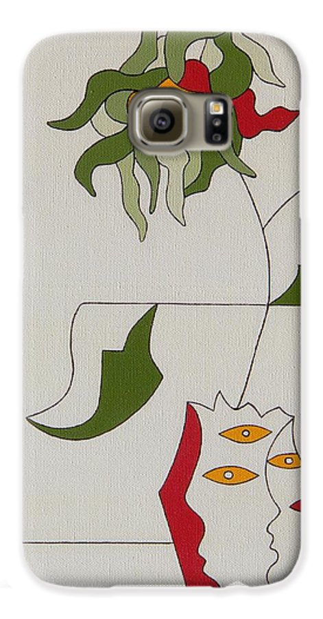 Flower Modern Constructivisme Special Original Galaxy S6 Case featuring the painting Flower by Hildegarde Handsaeme