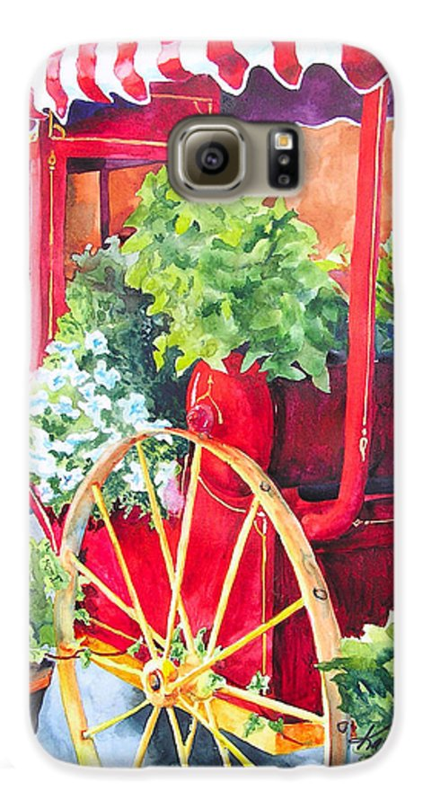 Floral Galaxy S6 Case featuring the painting Flower Wagon by Karen Stark