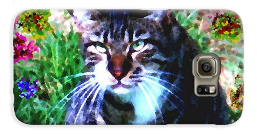 Cat Grey Attention Grass Flowers Nature Animals View Galaxy S6 Case featuring the digital art Flowers And Cat by Dr Loifer Vladimir