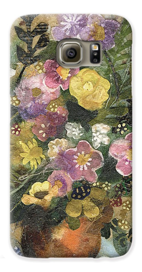 Limited Edition Prints Galaxy S6 Case featuring the painting Flowers In A Clay Vase by Nira Schwartz