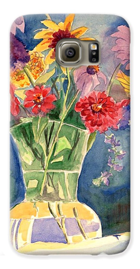 Flowers In Glass Vase Galaxy S6 Case featuring the painting Flowers In Glass Vase by Judy Swerlick