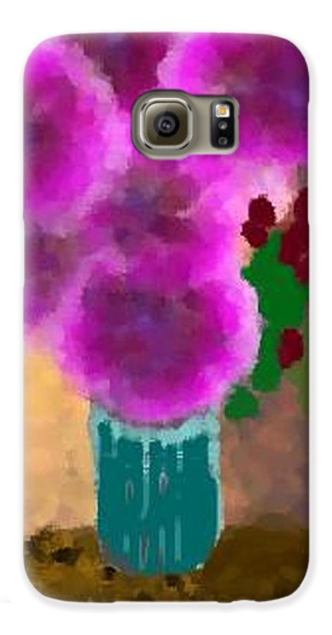 Flowers.colors.llilac.red.rose.green.blue.room.flower Vase.leaves Galaxy S6 Case featuring the digital art Flowers In Room by Dr Loifer Vladimir