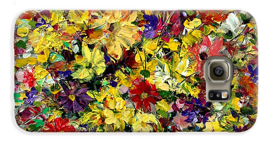 Flowers Galaxy S6 Case featuring the painting Flowers by Mario Zampedroni