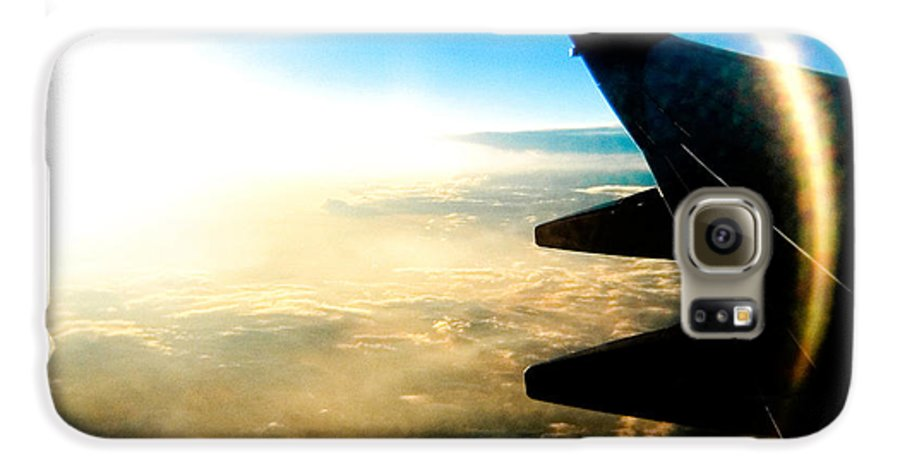 Plane Sky Sun Holga Color Photograph Galaxy S6 Case featuring the photograph Fly Like A Dolphin by Olivier De Rycke