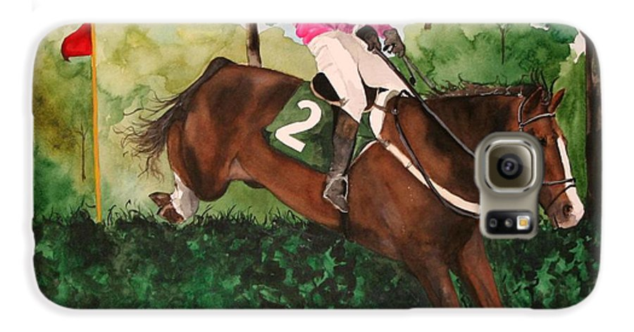 Horse Galaxy S6 Case featuring the painting Flying High by Jean Blackmer
