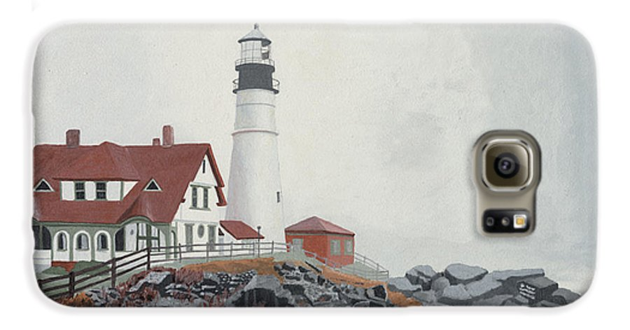 Lighthouse Galaxy S6 Case featuring the painting Fog Approaching Portland Head Light by Dominic White