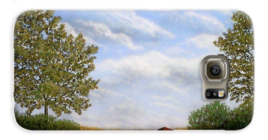 Landscape Galaxy S6 Case featuring the painting Foothills Afternoon by Frank Wilson