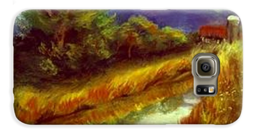 Landscape Galaxy S6 Case featuring the painting For A Thirsty Land by Gail Kirtz