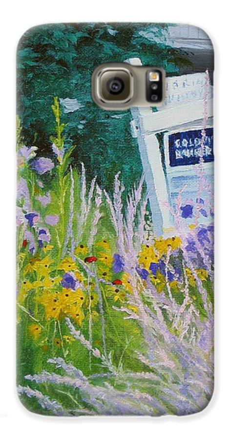Landscape Galaxy S6 Case featuring the painting For Sale - A Patch Of Paradise by Lea Novak
