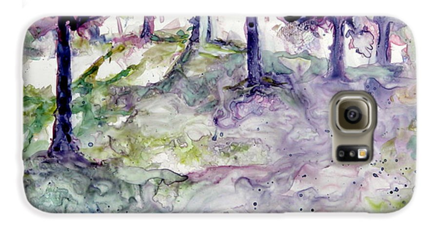 Fastasy Galaxy S6 Case featuring the painting Forest Fantasy by Jan Bennicoff