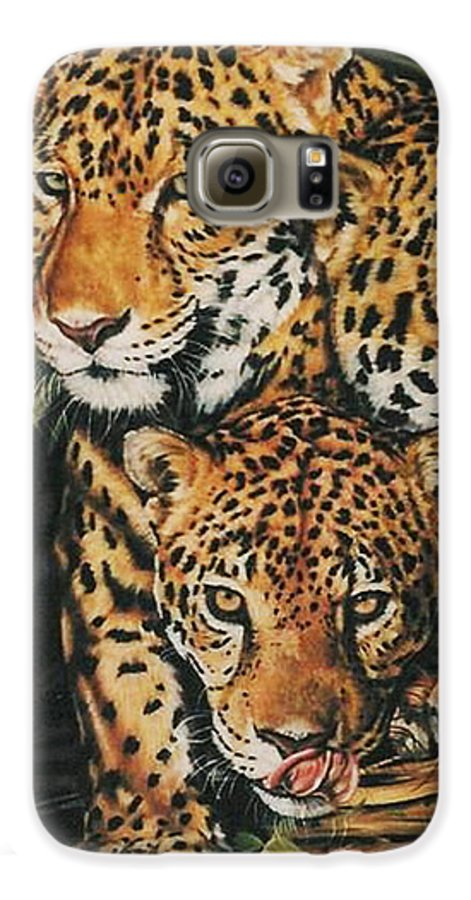 Jaguar Galaxy S6 Case featuring the pastel Forest Jewels by Barbara Keith