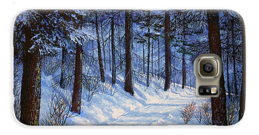 Landscape Galaxy S6 Case featuring the painting Forest Road by Frank Wilson