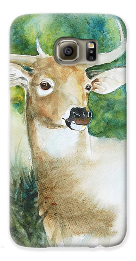 Deer Galaxy S6 Case featuring the painting Forest Spirit by Christie Michelsen