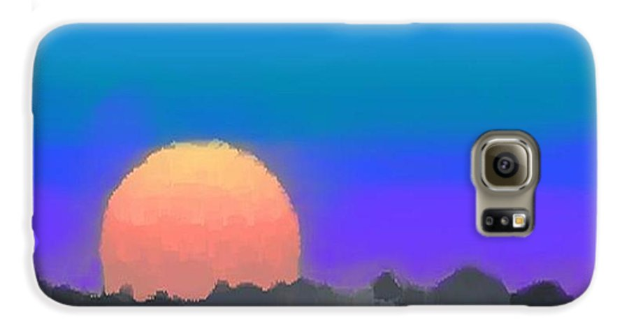 Evenung.sunset.sky.sun.background Forest.silence.rest Galaxy S6 Case featuring the digital art Forest Sunset. by Dr Loifer Vladimir
