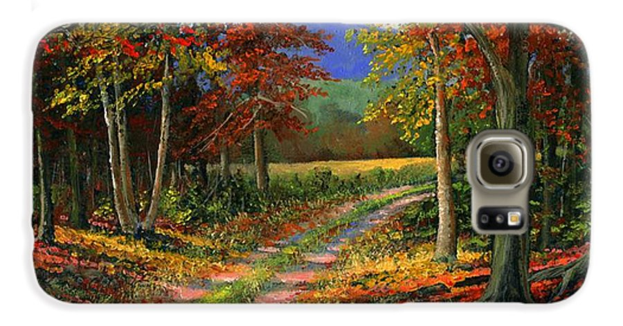 Landscape Galaxy S6 Case featuring the painting Forgotten Road by Frank Wilson