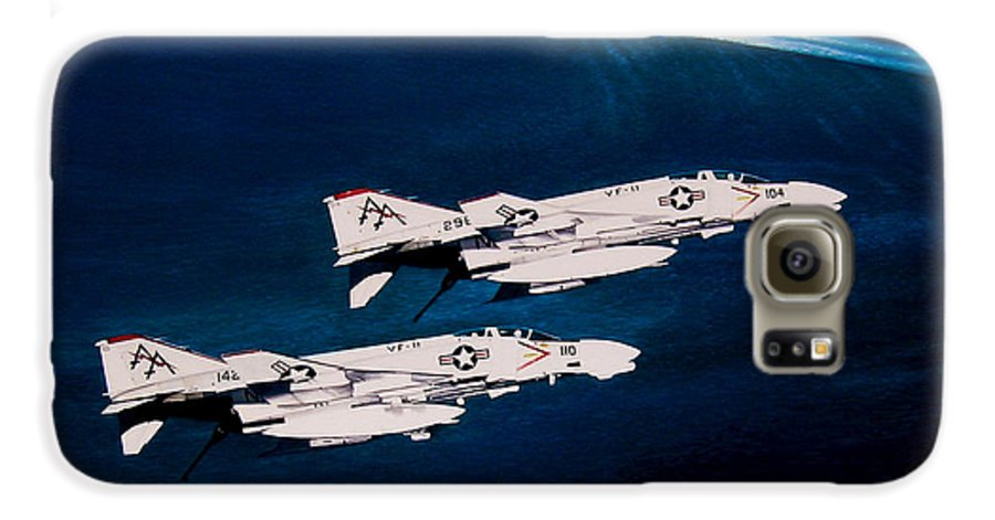 Military Galaxy S6 Case featuring the painting Forrestal S Phantoms by Marc Stewart
