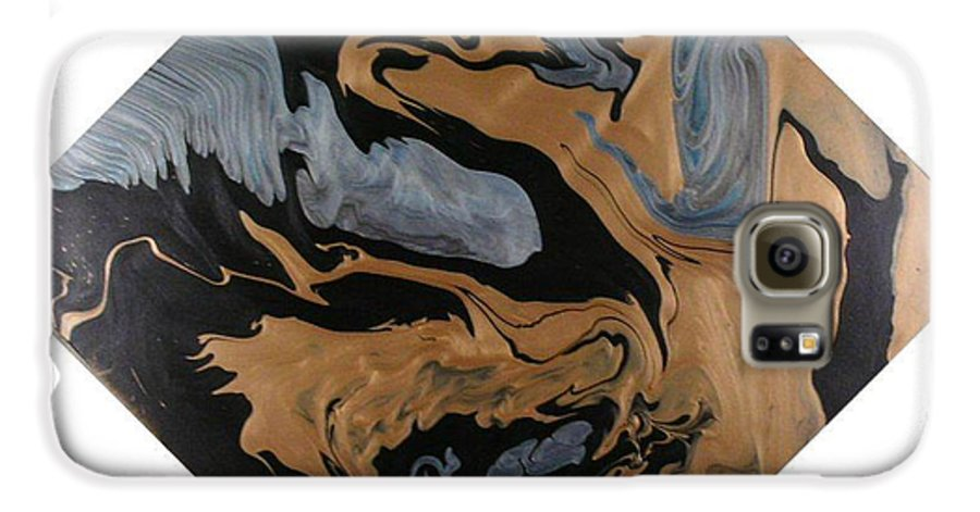 Abstract Galaxy S6 Case featuring the painting Fossil by Patrick Mock