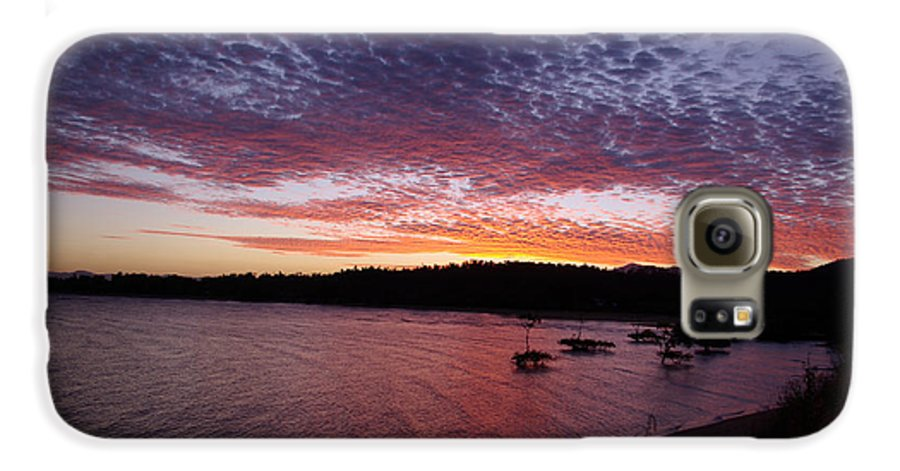 Landscape Galaxy S6 Case featuring the photograph Four Elements Sunset Sequence 1 Coconuts Qld by Kerryn Madsen - Pietsch