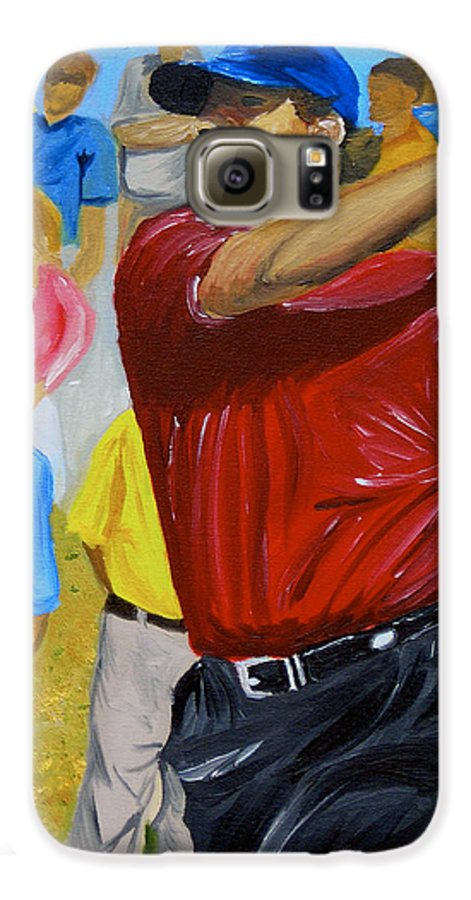 Golf Galaxy S6 Case featuring the painting Four by Michael Lee