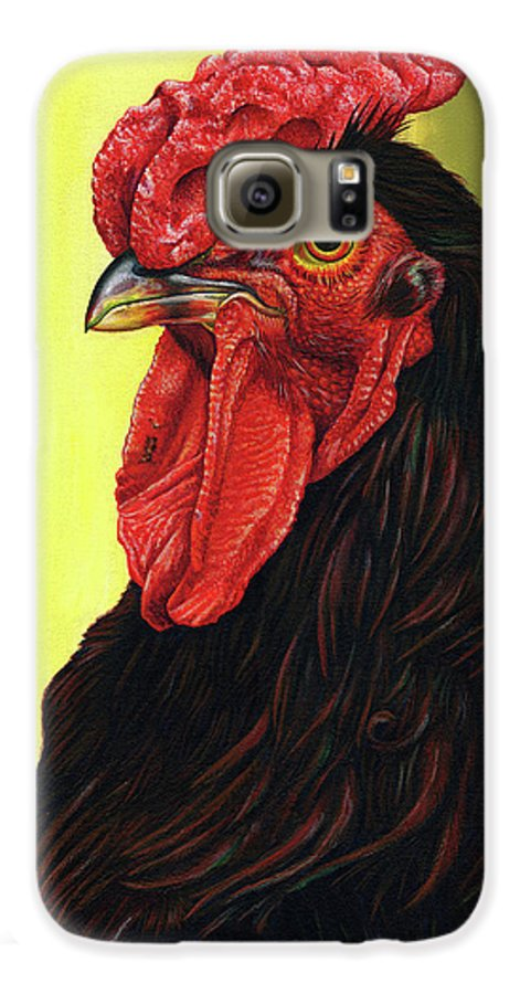 Rhode Galaxy S6 Case featuring the painting Fowl Emperor by Cara Bevan
