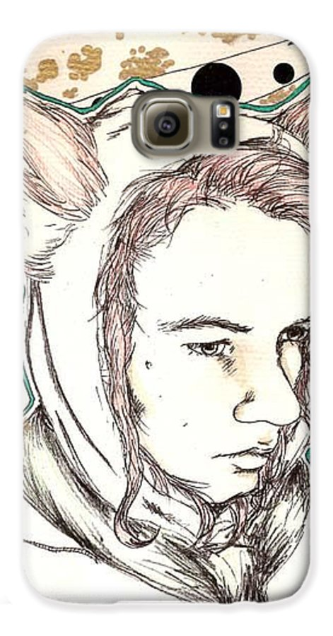 Ears Fow Star Boy Portrait Red Galaxy S6 Case featuring the drawing Fox by Freja Friborg