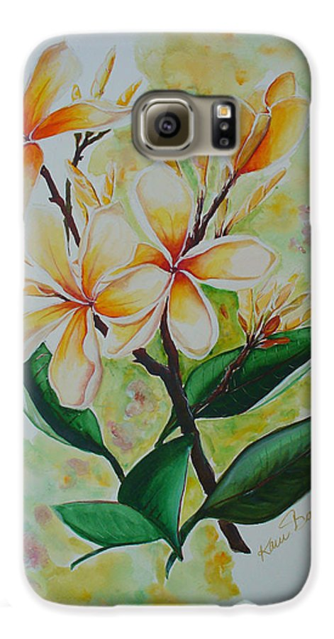 Galaxy S6 Case featuring the painting Frangipangi by Karin Dawn Kelshall- Best