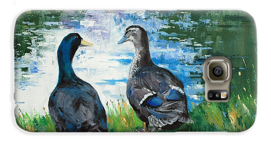 Ducks Galaxy S6 Case featuring the painting Fred And Ethel At Scott's Pond by Glenn Secrest