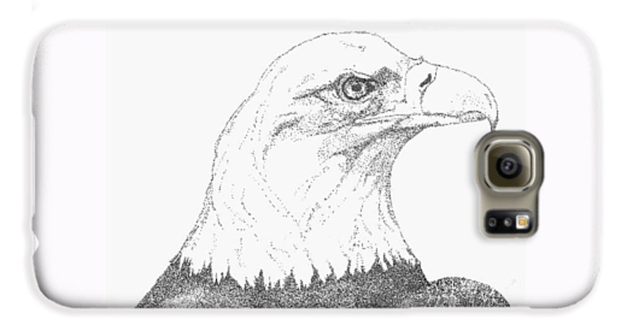 Eagle Galaxy S6 Case featuring the drawing Freedom by Debra Sandstrom