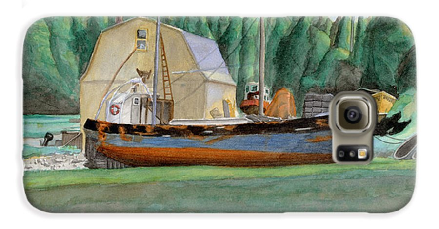 Fishing Boat Galaxy S6 Case featuring the painting Freeport Fishing Boat by Dominic White