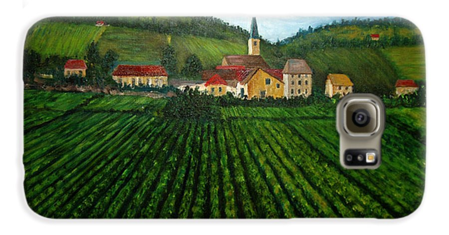 Acrylic Galaxy S6 Case featuring the painting French Village In The Vineyards by Nancy Mueller