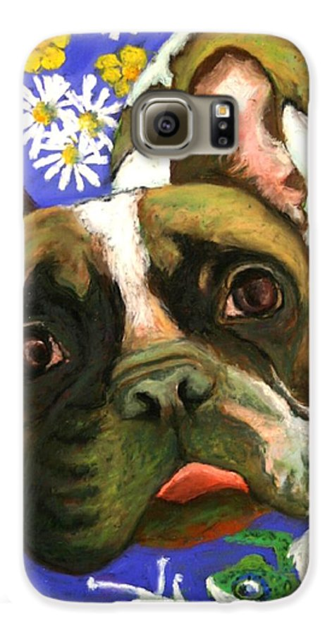 Pet Portrait Galaxy S6 Case featuring the painting Frenchie Plays With Frogs by Minaz Jantz