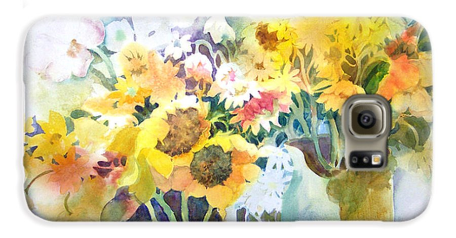 Contemporary;watercolor;sunflowers;daisies;floral; Galaxy S6 Case featuring the painting Fresh-picked by Lois Mountz
