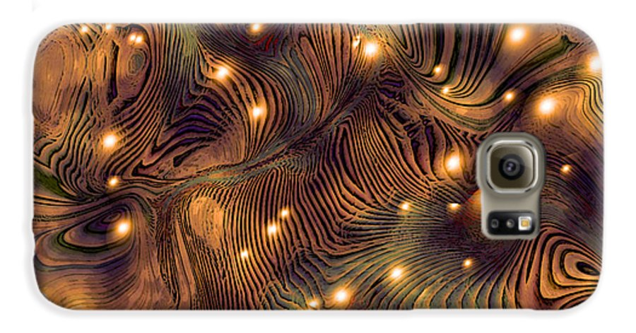 Abstract Digital Art Painting Brown Gold Freshwater Fish Lights Texture Galaxy S6 Case featuring the painting Freshwater by Susan Epps Oliver