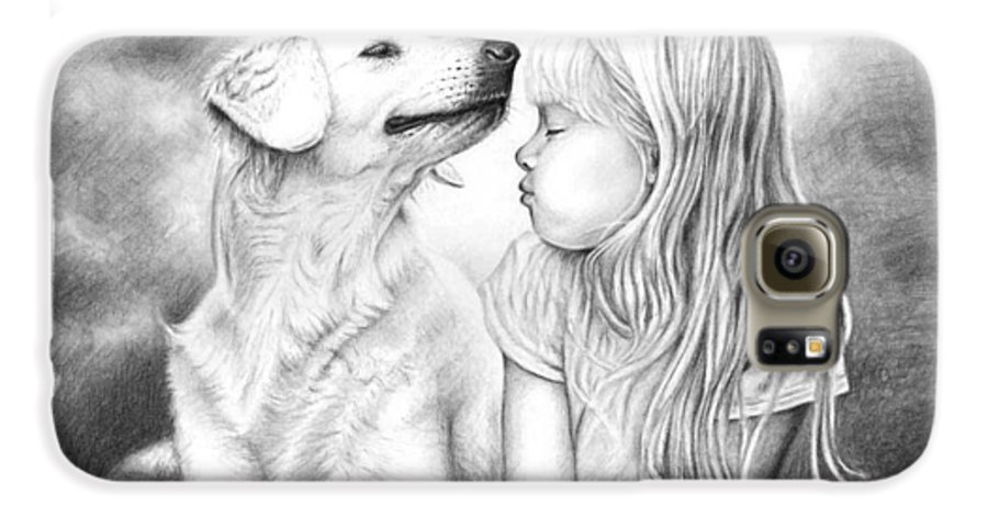 Dog Galaxy S6 Case featuring the drawing Friends by Nicole Zeug