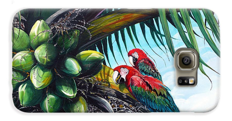 Macaws Bird Painting Coconut Palm Tree Painting Parrots Caribbean Painting Tropical Painting Coconuts Painting Palm Tree Greeting Card Painting Galaxy S6 Case featuring the painting Friends Of A Feather by Karin Dawn Kelshall- Best