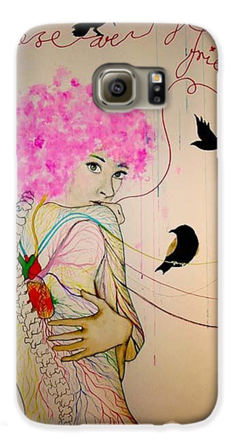 Bird Heart Veins Galaxy S6 Case featuring the drawing Friends With Birds by Freja Friborg