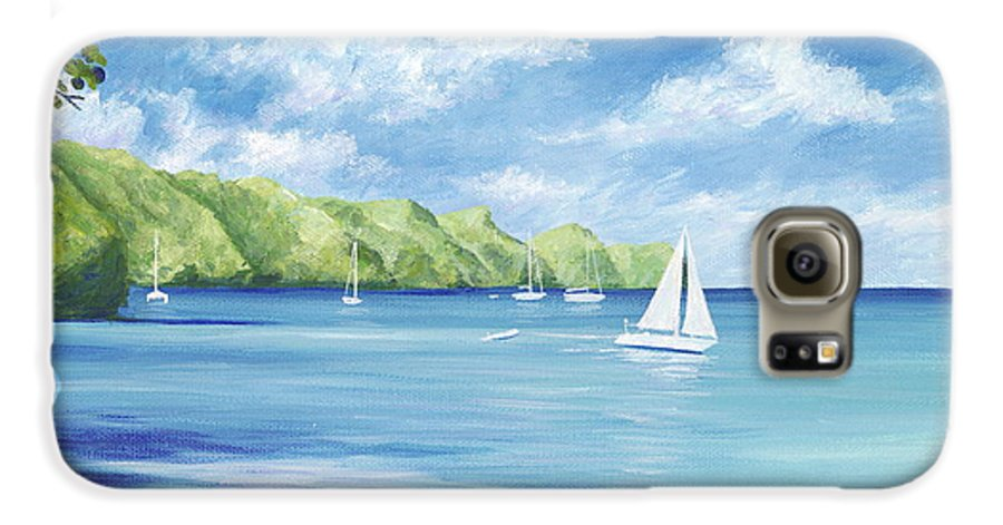 Nautical Seascape Galaxy S6 Case featuring the painting Friendship Bay by Danielle Perry