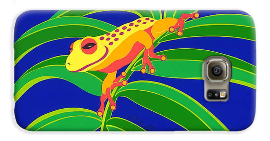 Nature Galaxy S6 Case featuring the drawing Frog On Branch by Lucyna A M Green